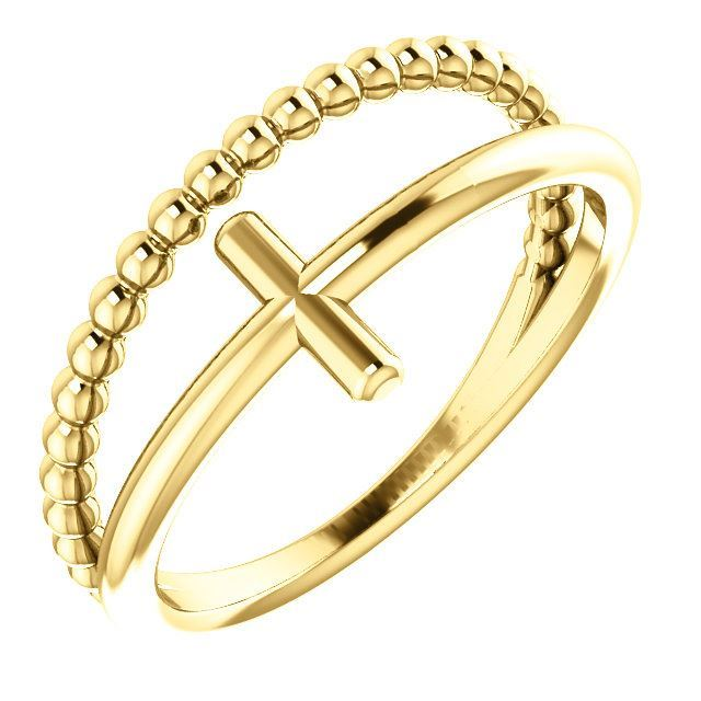 Picture of 14K Gold Negative Space & Beaded Cross Ring
