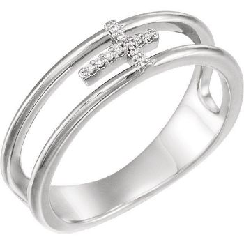 Picture of 14K Gold .03 CTW Diamond Negative Space Cross Ring