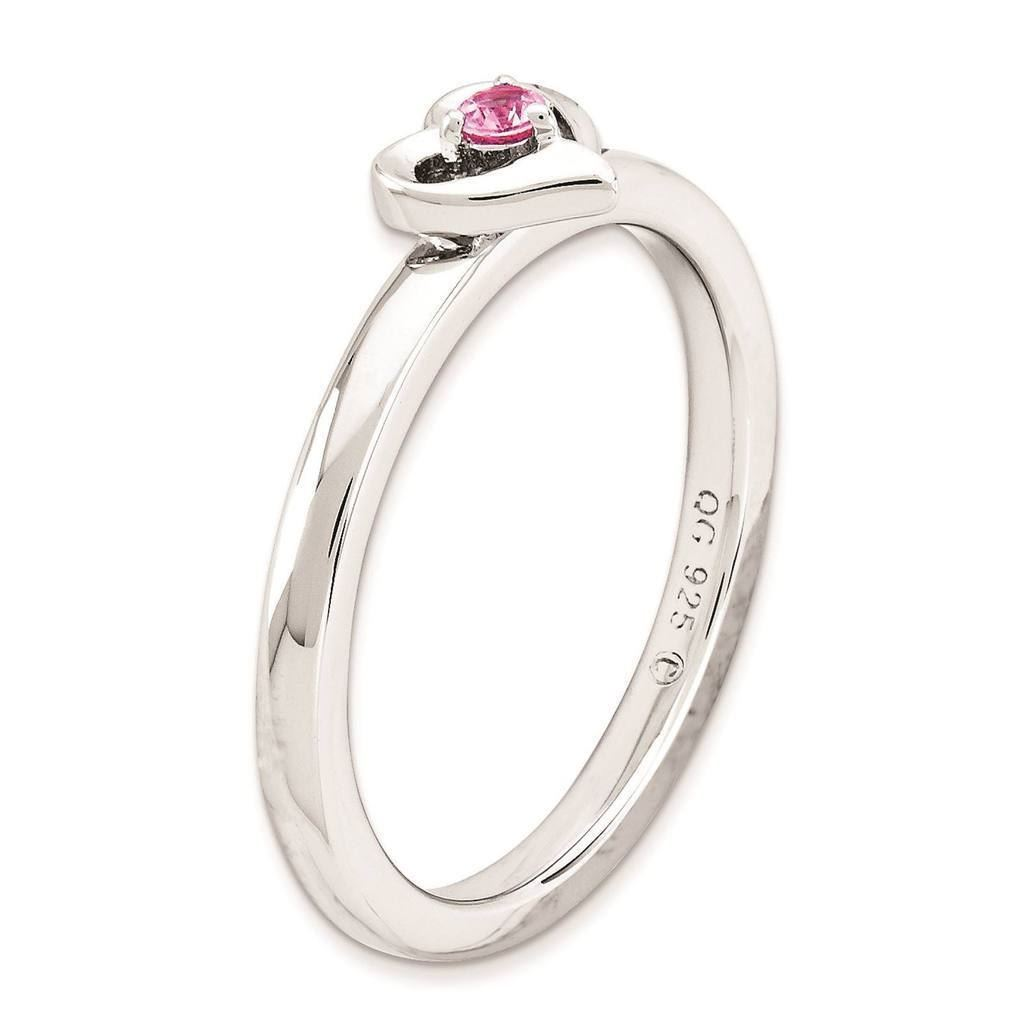 Picture of Silver Heart Ring Created Pink Sapphire