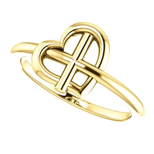Picture of 14K Gold Heart Cross Ring