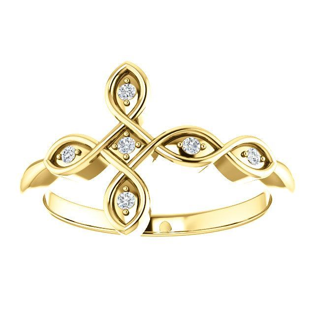 Picture of 14K Gold .05 CTW Diamond Sideways Cross Ring
