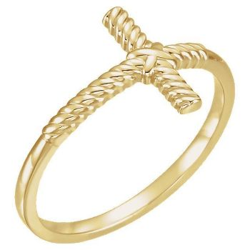 Picture of 14K Gold Rope Sideways Cross Ring