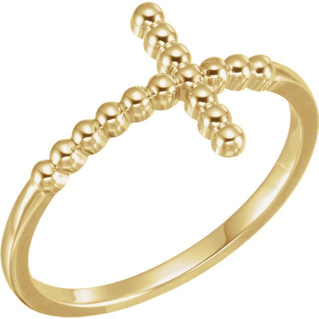 Picture of 14K Gold Beaded Sideways Cross Ring