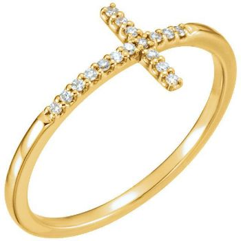 Picture of 14K Gold .08 CTW Diamond Sideways Cross Ring