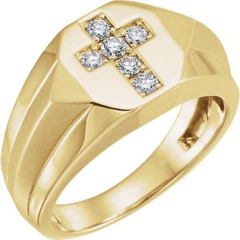Picture of 14K Gold 1/3 CTW Diamond Cross Ring