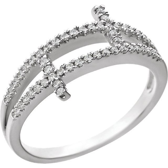 Picture of Sterling Silver Cubic Zirconia Sideways Cross Ring Size 7