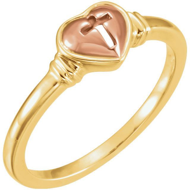 Picture of 10K Yellow & Rose Gold Heart & Cross Ring