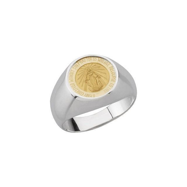 Picture of 14K Yellow Gold & Sterling Silver  Round Miraculous Medal Ring Size 7