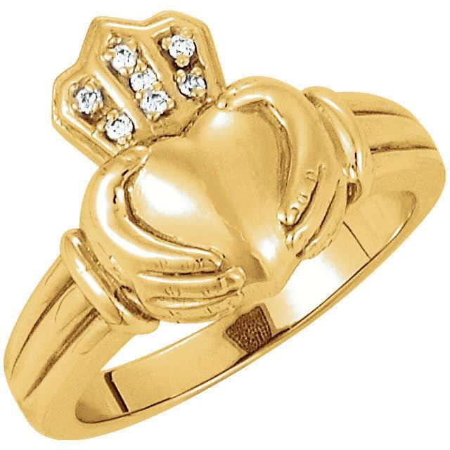 Picture of 14K Gold Men's .03 CTW Diamond Claddagh Ring