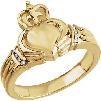 Picture of 14K Gold .05 CTW Men's Claddagh Ring