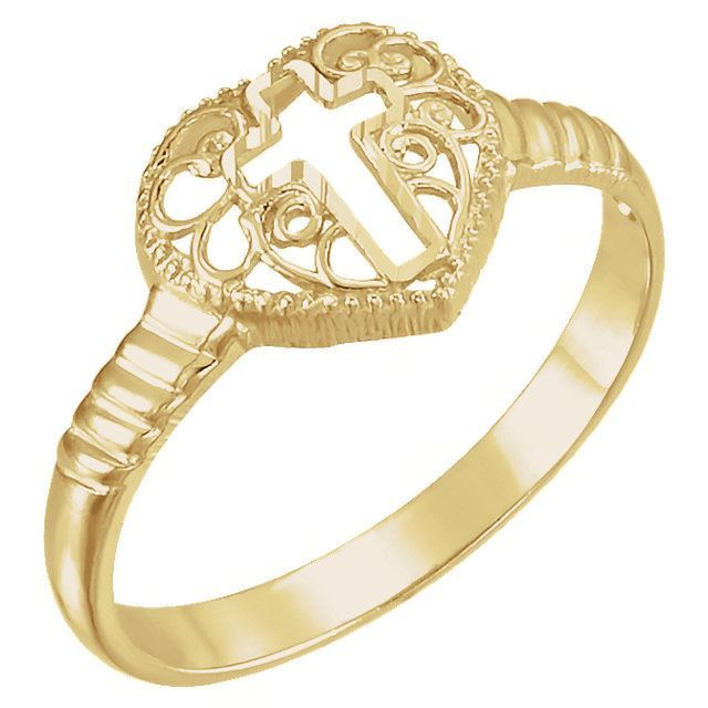 Picture of 14K Gold Cross Heart Ring