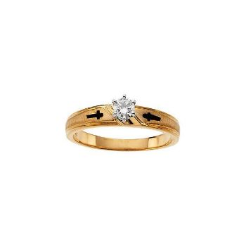 Picture of Cross Solitaire Engagement Ring or Duo Band