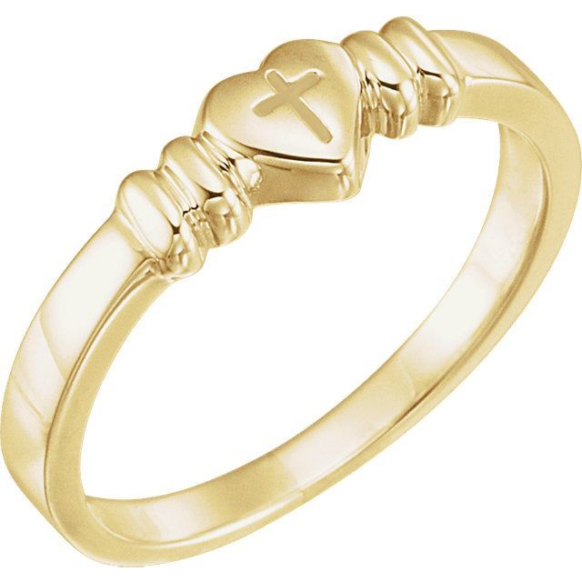Picture of 14K Gold Heart with Cross Chastity Ring Size 7
