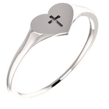 Picture of 14K Gold Youth Heart & Cross Ring