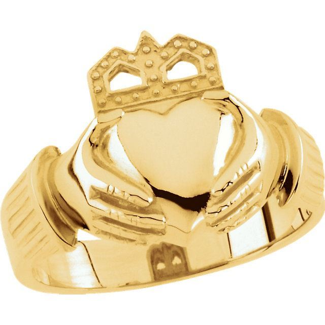 Picture of 14K Gold 15x11mm Men's Claddagh Ring