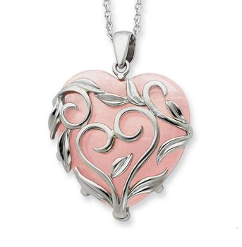 Picture of Sterling Silver And Rose Quartz Generous Heart 18in Necklace