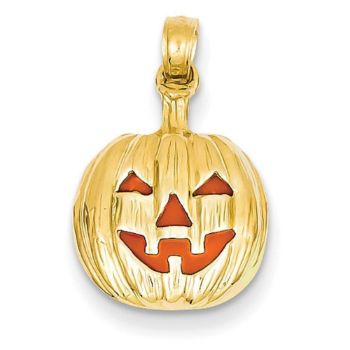 Picture of 14k Enameled Inside 3-D Cut-Out Pumpkin Pendant