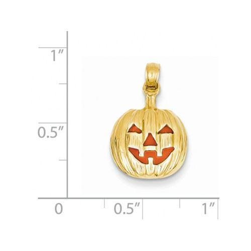 Picture of 14k Enameled Inside 3-D Cut-Out Pumpkin Pendant