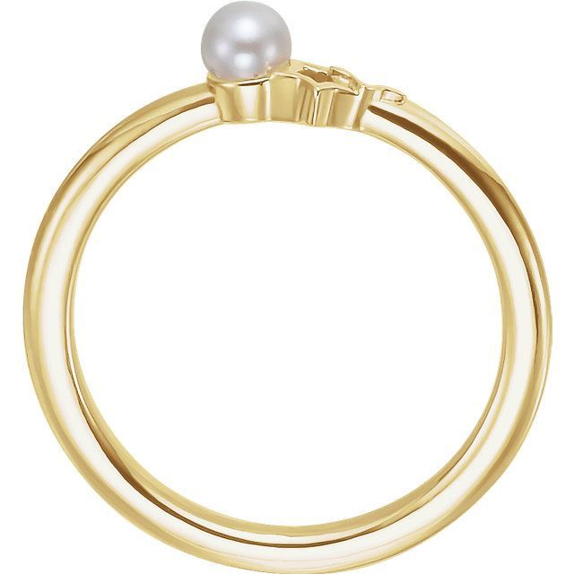 Picture of 14K Gold Freshwater Cultured Pearl Youth Double Star Ring