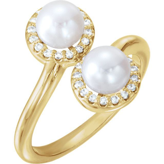 Picture of 14K Gold Freshwater Cultured Pearl & 1/6 CTW Diamond Ring