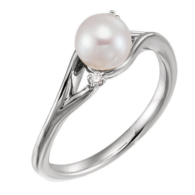 Picture of 14K Gold Freshwater Pearl & .03 CTW Diamond Bypass Ring
