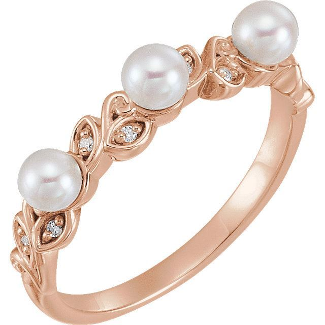 Picture of 14K Gold Pearl & .03 CTW Diamond Stackable Leaf Pattern Ring