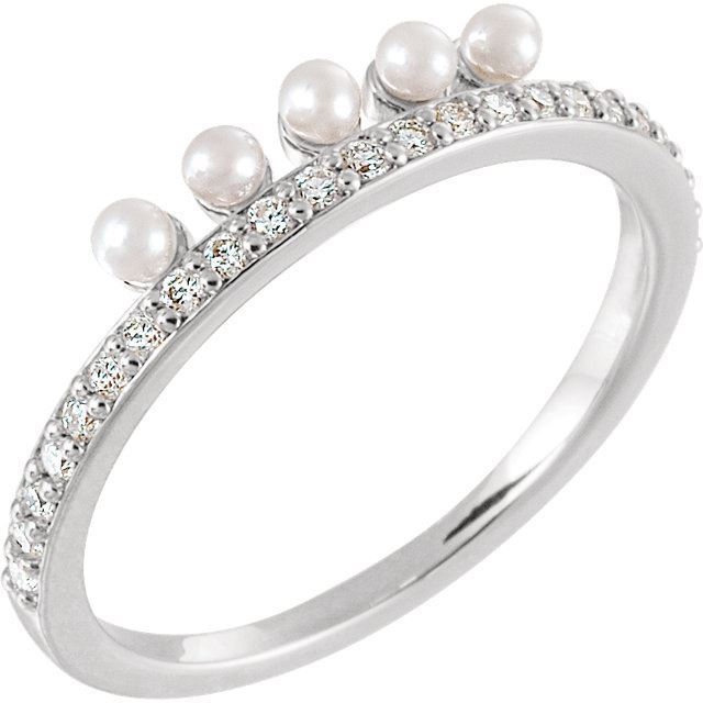Picture of 14K Gold Freshwater Cultured Pearl & 1/5 CTW Diamond Stackable Ring