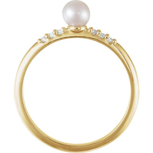Picture of 14K Gold Freshwater Cultured Pearl & .05 CTW Diamond Ring