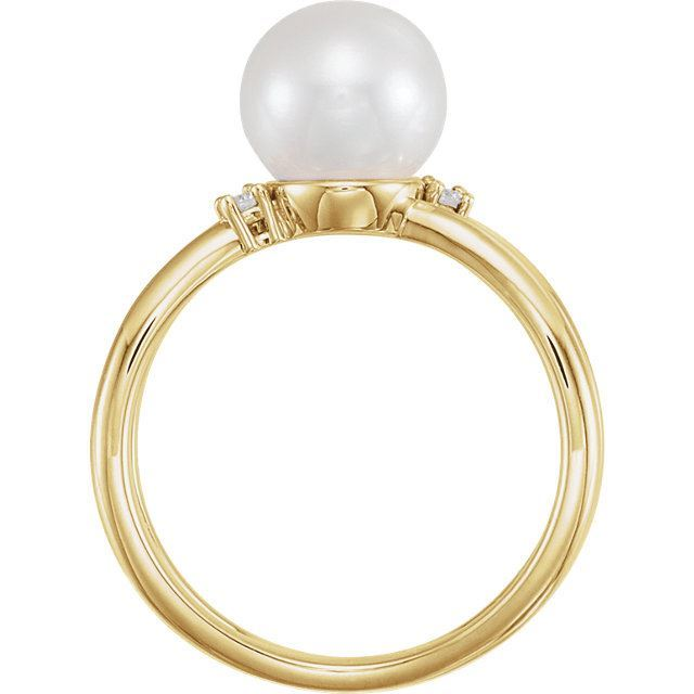Picture of 14K Gold Freshwater Cultured Pearl & .04 CTW Diamond Ring