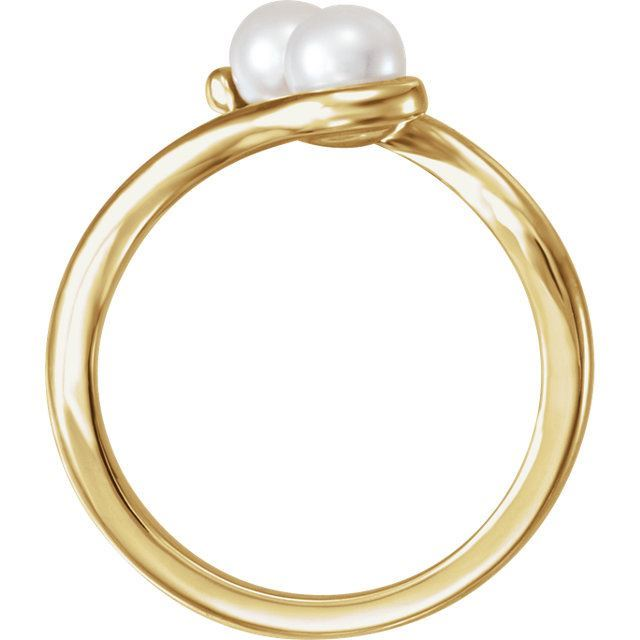 Picture of 14K Gold Freshwater Cultured Pearl Two-Stone Ring