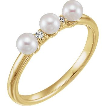 Picture of 14K Gold Freshwater Cultured Pearl & .03 CTW Diamond Stackable Ring