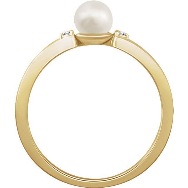 Picture of 14K Gold Freshwater Cultured Pearl & .02 CTW Diamond Ring