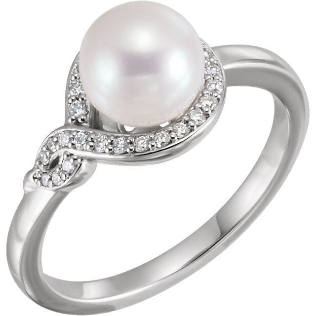 Picture of 14K Gold Freshwater Cultured Pearl & 1/8 CTW Diamond Bypass Ring
