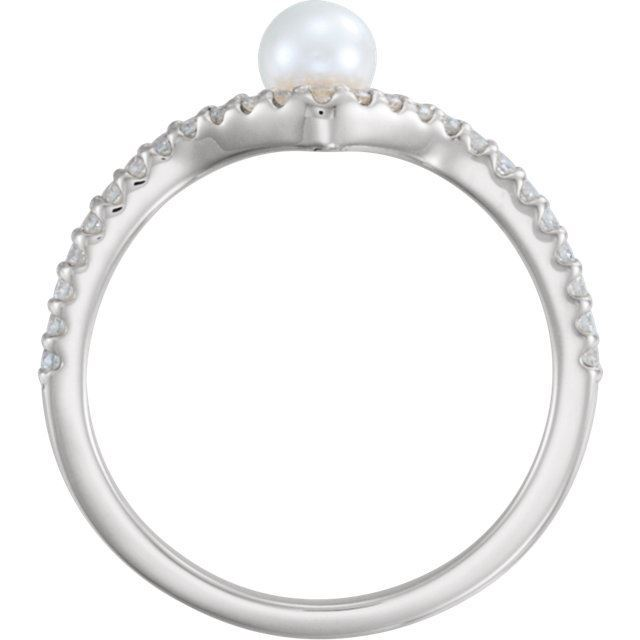 Picture of 14K Gold Freshwater Cultured Pearl & 1/5 CTW Diamond Asymmetrical Ring