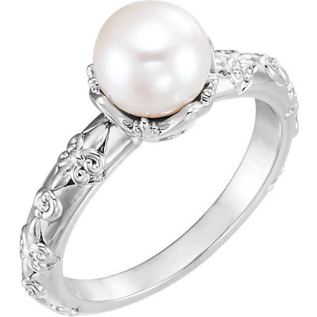 Picture of 14K Gold Freshwater Cultured Pearl & .02 CTW Diamond Vintage-Inspired Ring