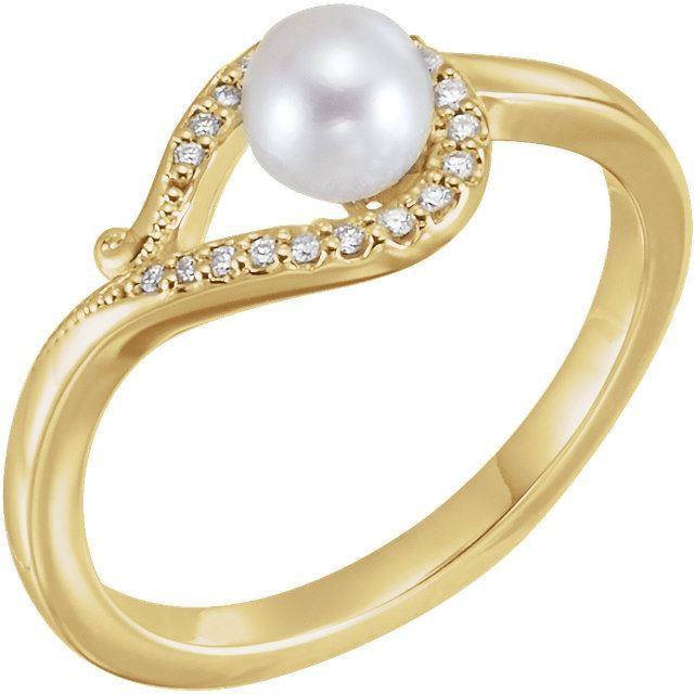 Picture of 14K Gold Freshwater Cultured Pearl & .07 CTW Diamond Bypass Ring