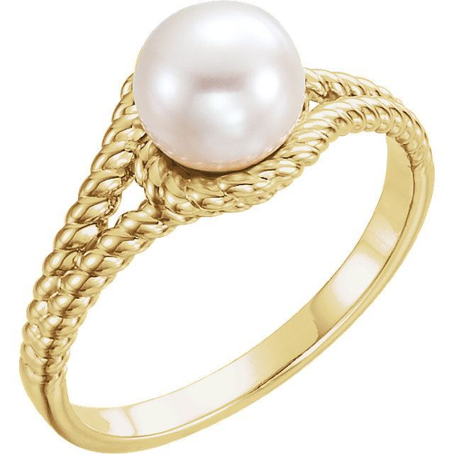 Picture of 14K Gold 7mm White Freshwater Pearl Rope Ring
