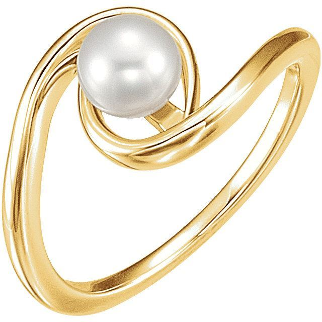 Picture of 14K Gold 6mm Freshwater Cultured Pearl Ring