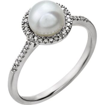 Picture of Sterling Silver Freshwater Cultured Pearl & .01 CTW Diamond Ring