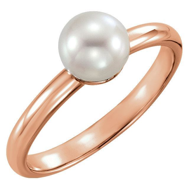 Picture of 14K Gold 6.5-7mm Freshwater Cultured Pearl Ring