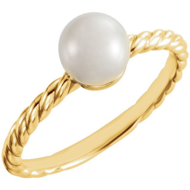Picture of 14K Gold 7.5-8 mm Freshwater Cultured Pearl Ring