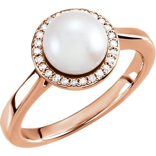 Picture of 14K Gold Freshwater Cultured Pearl & .07 CTW Diamond Halo-Style Ring