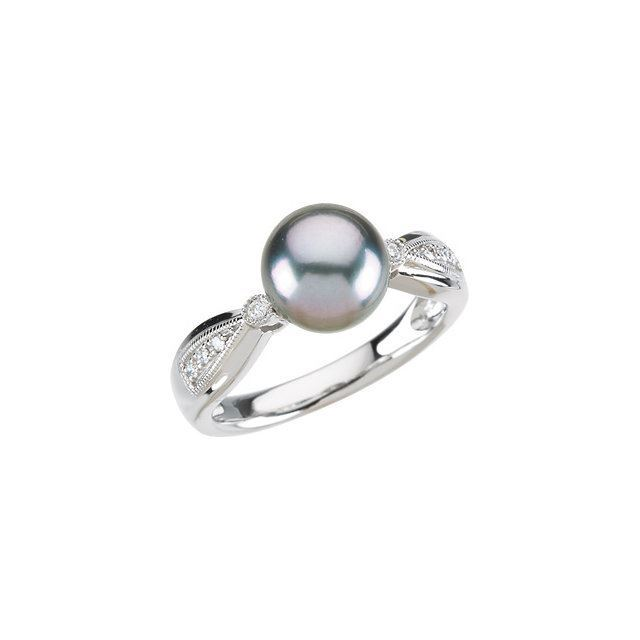Picture of 14K Gold Tahitian Cultured Pearl & .07 CTW DIamond Ring