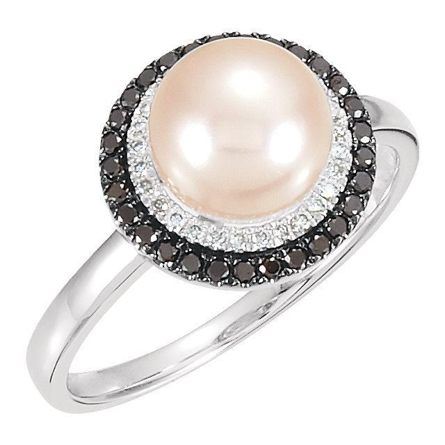 Picture of 14K Gold Freshwater Cultured Pearl & 1/4 CTW Black & White Diamond Ring