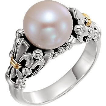 Picture of 14K Gold & Sterling Silver Fleur-de-lis Pearl Ring