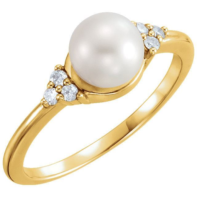 Picture of 14K Gold 6.5-7mm Freshwater Cultured Pearl & .09 CTW Diamond Ring