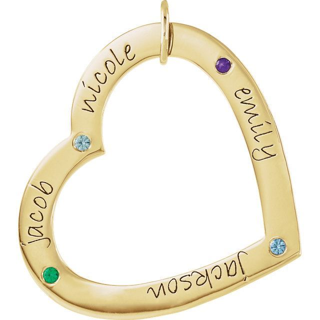 Picture of 4 Names Engravable Large Heart Loop with Stones