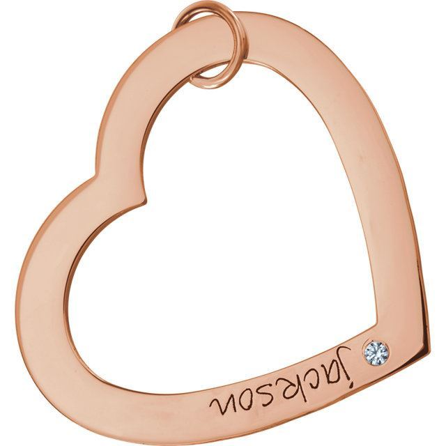 Picture of 1 Name Engravable Large Heart Loop with Stone