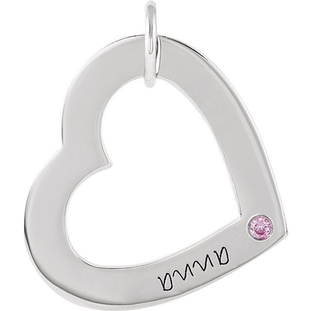 Picture of 1 Name Engravable Medium Heart Loop with Stone