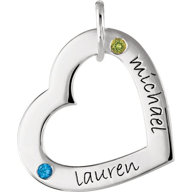 Picture of 2 Names Engravable Small Heart Loop with Stones